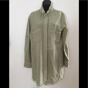 Umgee Button Down Raw Trim Tunic Dress/ Top